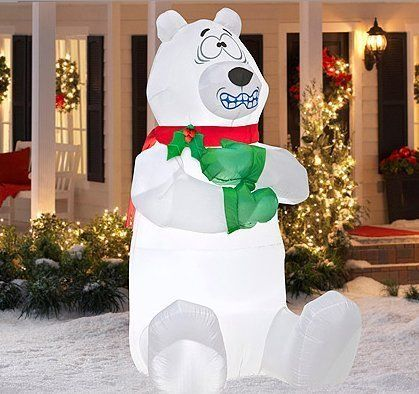 5\u0027 Tall Airblown Shivering Polar Bear Christmas - christmas blow up decorations