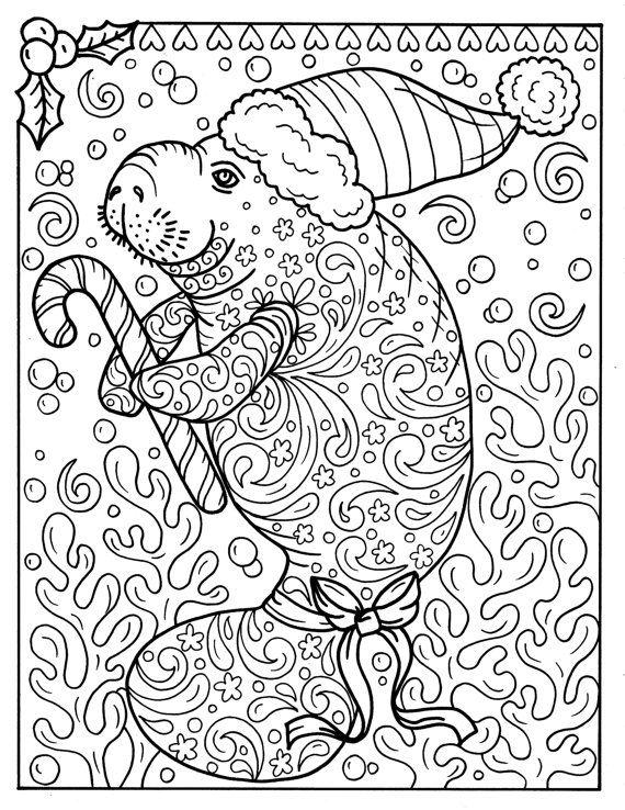 Manatee Christmas Coloring Page Instant Download Adult Coloring Pages Sea Life Christmas Coloring Pages Adult Coloring Pages Coloring Pages
