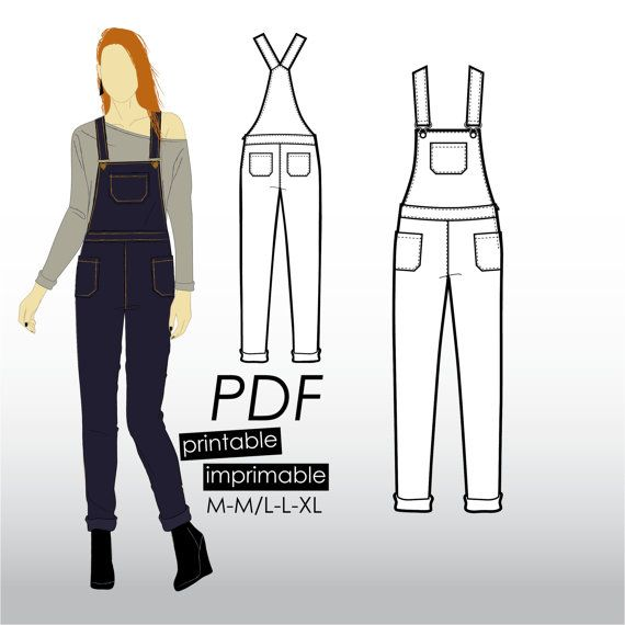M-XL Jeans overall with pockets and tapered leg (PDF sewing pattern for denim)