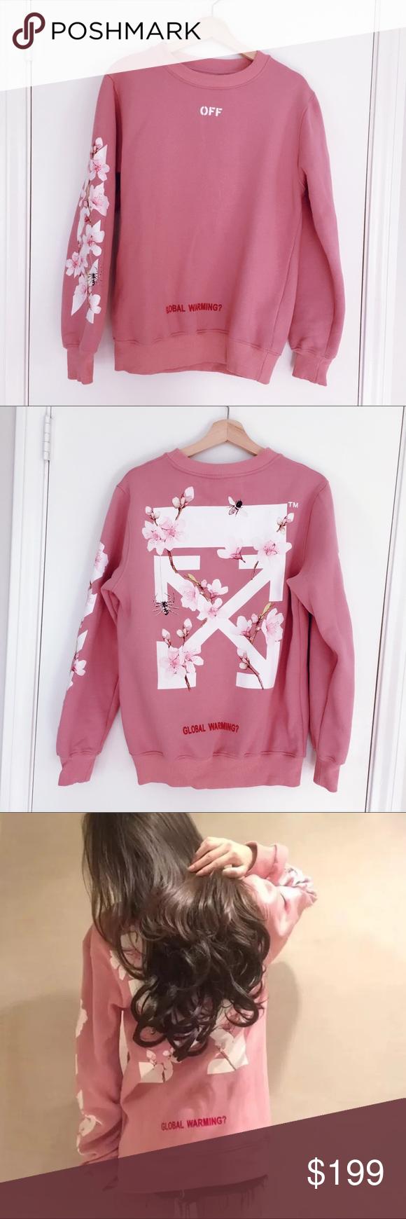 Brand New Off White Cherry Flower Sweatshirtow17fw White Cherries Pink Sweatshirt Cherry Flower [ 1740 x 580 Pixel ]