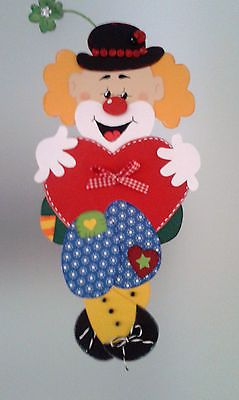 Fensterbild Clown mit Herz Fasching Karneval Dekoration