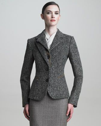Suede-Trimmed Riding Jacket by Armani Collezioni at Bergdorf Goodman.