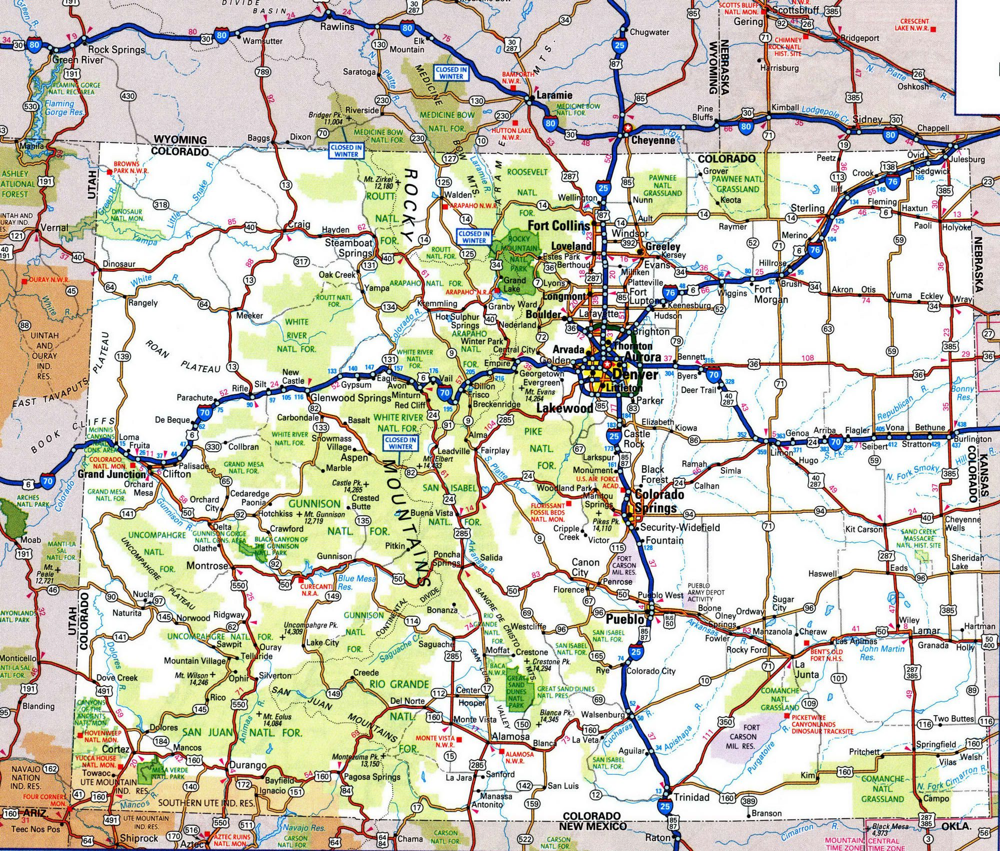 Colorado State Road Map