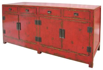 Asian Wood Sideboard With Four Drawers And Four Doors   Asian   Buffets And  Sideboards