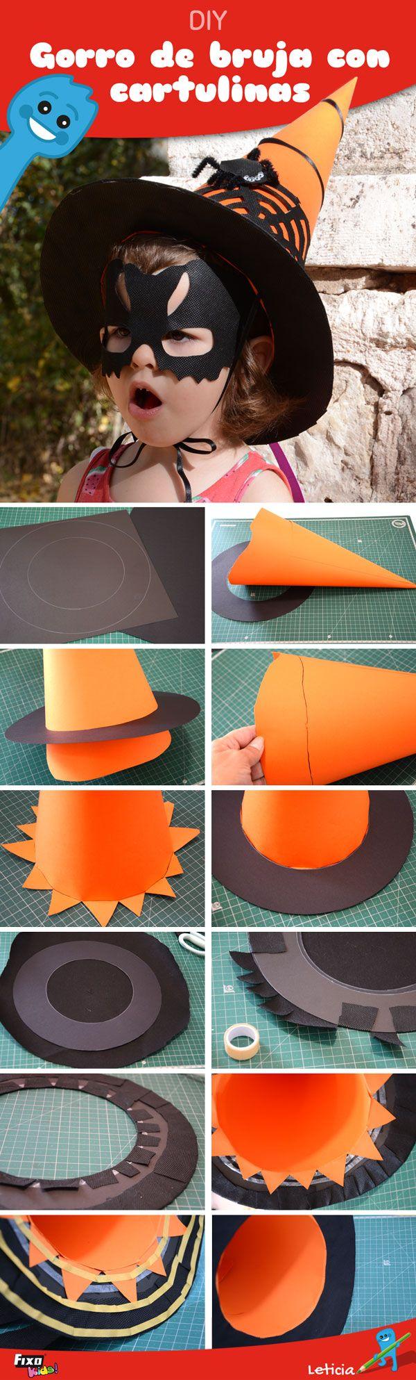 Cómo hacer un sombrero de bruja para niñas con cartulinas naranjas y negras  y tela no tejido. Disfraces de halloween decda1b59ef