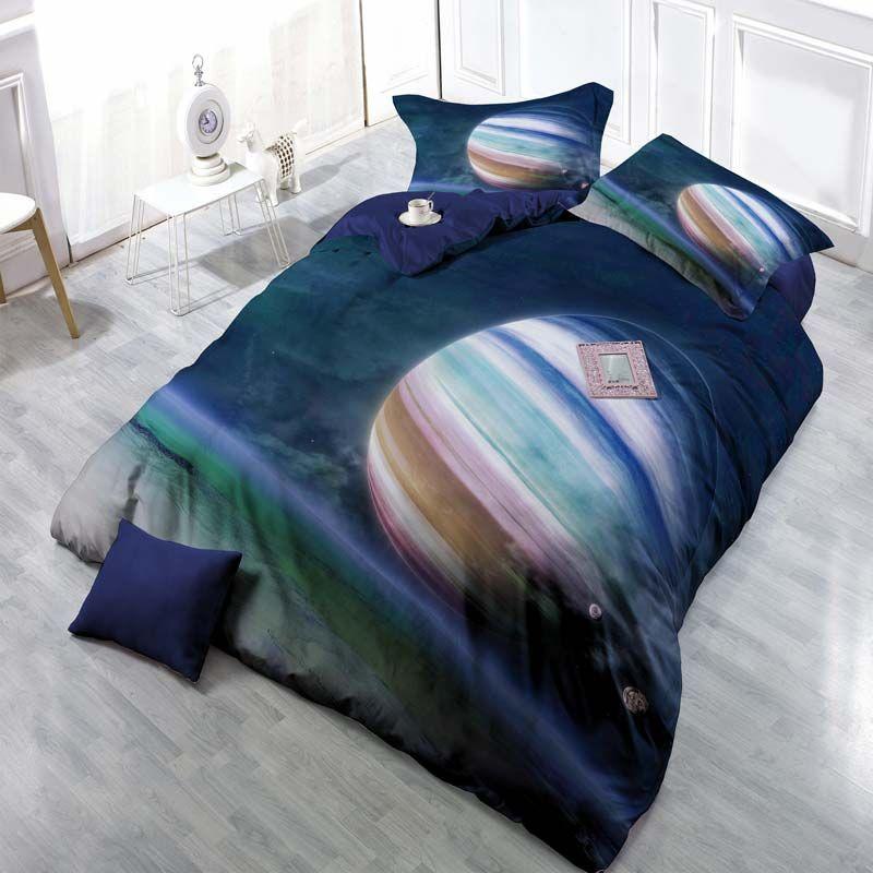 Moderne Bettwasche Planeten Motiv Aus Polyester 4er Set Duvet