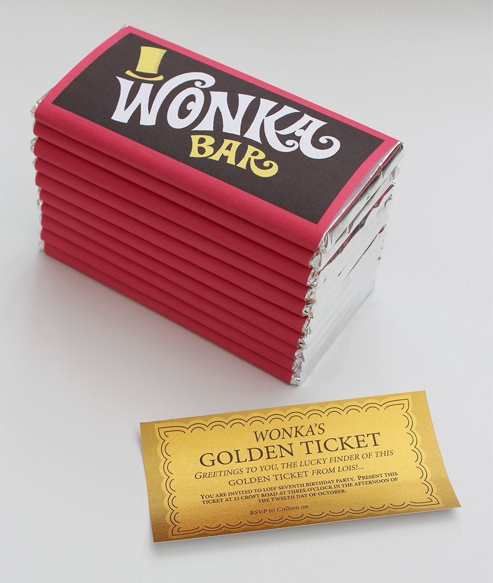 Wonka Bar Chocolate Birthday Invitation -with Golden Tickets | Ideas ...