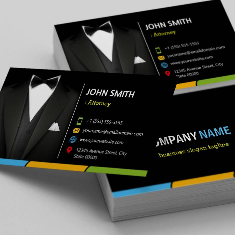 Attorney Lawyer Consultant Tuxedo Businessman Suit Business Card ...