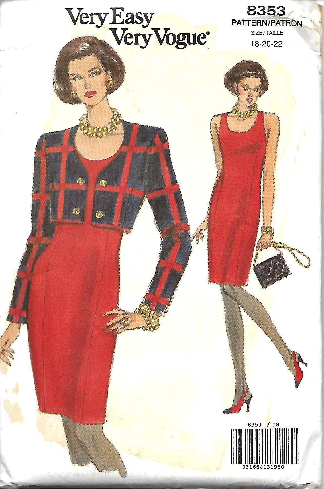 Vogue 8353 Misses/Miss Petite Short Jacket & Sheath Dress Pattern ...