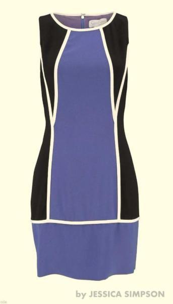Elegantes ETUIKLEID in den Farben lila - schwarz - Größe 34-36 NEU