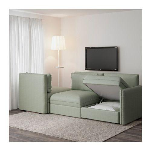 VALLENTUNA 3-seat sofa with bed - Hillared green - IKEA Decor - ikea kleine küchen