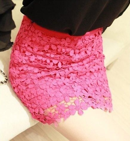 Saia renda lace pink