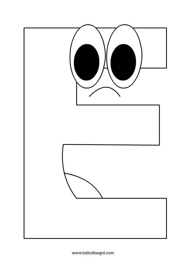Alfabeto da colorare lettera e - Lettere animali da stampare ...