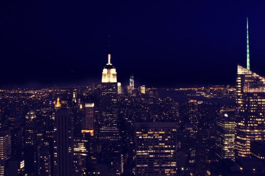 Original New York City Skyline Night By Leonski Daotjb