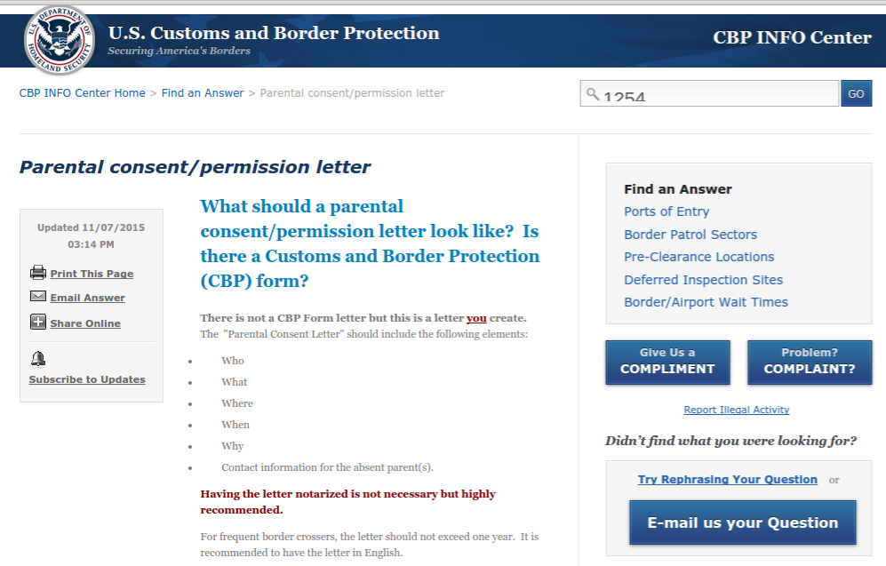 us customs and border protection parental consent letter for children traveling with only one