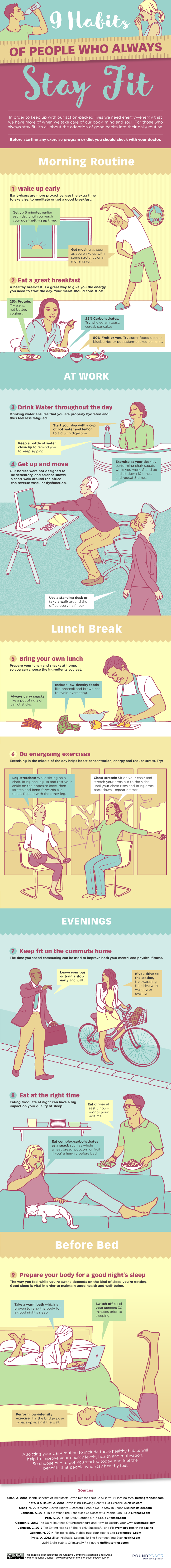 9 Habits Of People Who Always Stay Fit #Infographic