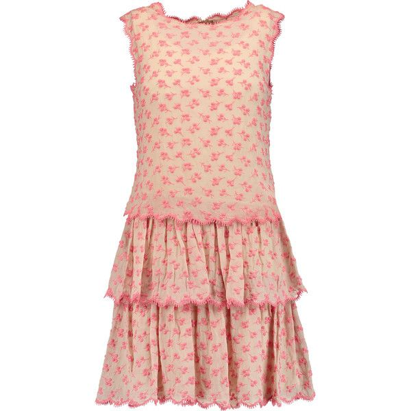 REDValentino Embroidered silk-crepe mini dress (€375) ❤ liked on Polyvore featuring dresses, pastel pink, embroidery dress, red dress, short pink dress, tiered ruffle dress and red embroidered dress