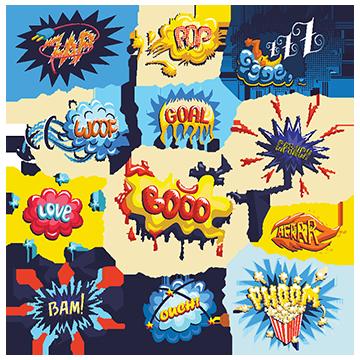 Vector Set Of Comics Icons, Comic, Cartoon, Superhero PNG