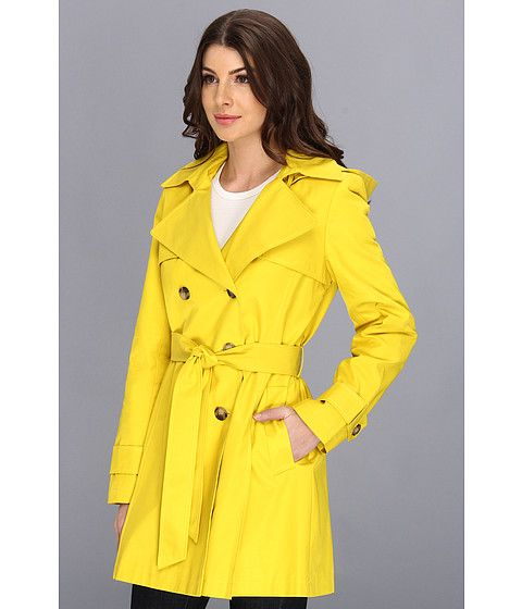 DKNY Double-Breasted Hooded Trench Coat Chartruese - Zappos.com Free Shipping BOTH Ways