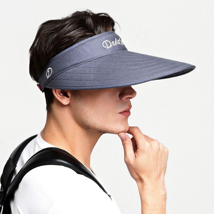 4353a85dbec Plain visor hat for men wide brim sun hats