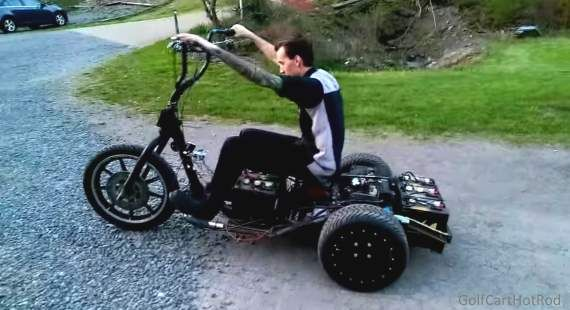 Harley Davidson Golf Cart Converted To Electric Trike With Air Ride