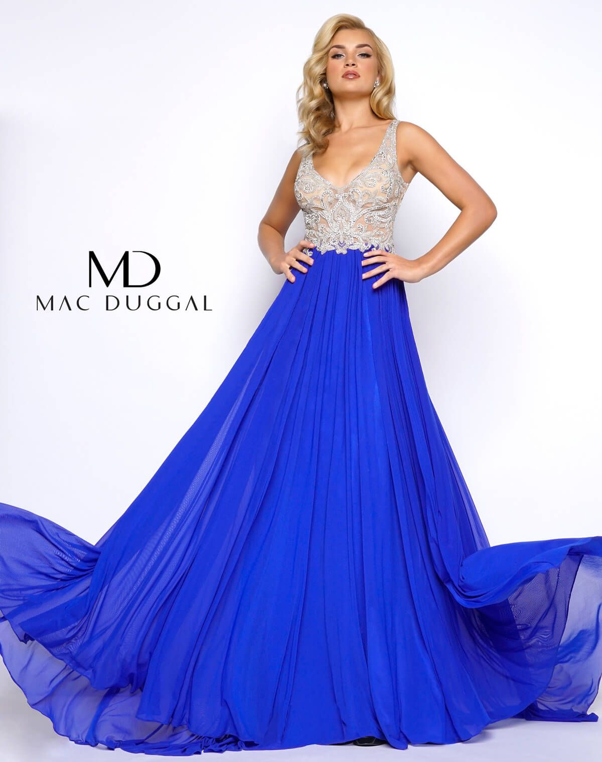 Mac duggal unique long aline beaded m style prom dress with
