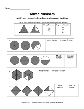 Mixed Numbers and Improper Fractions | Improper fractions ...
