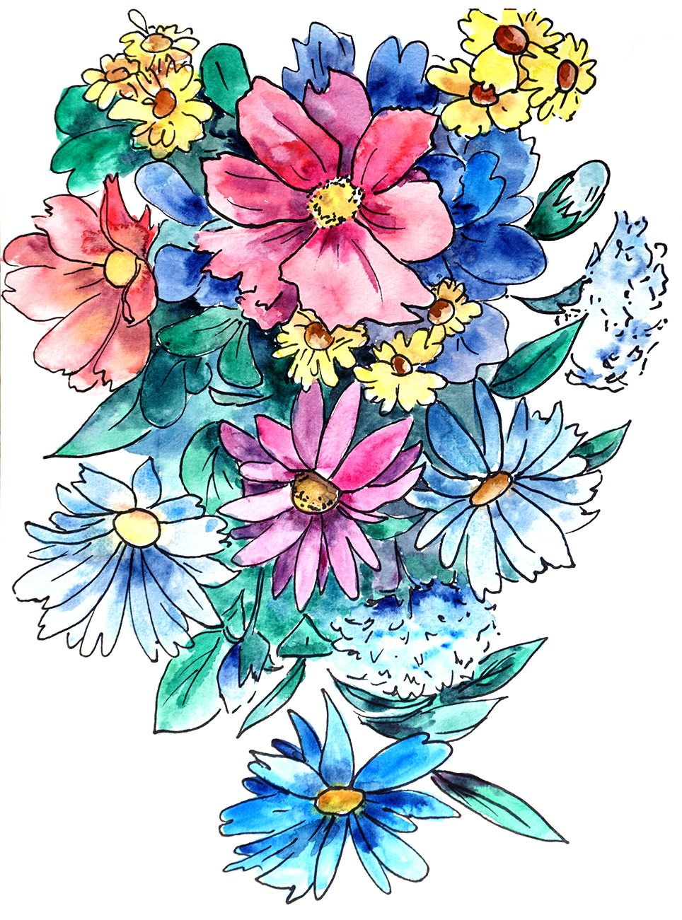 Watercolor Coloring Book Colorful Art Flower Drawing Floral Doodle