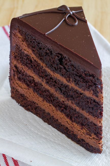 The Dark Knight is a tall triple chocolate layer cake intensified