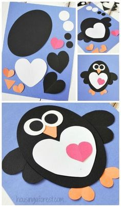 Valentines Craft - Heart Penguin Craft for Kids // Tarjeta de San Valentín pingüinos #valentines #craft #kids