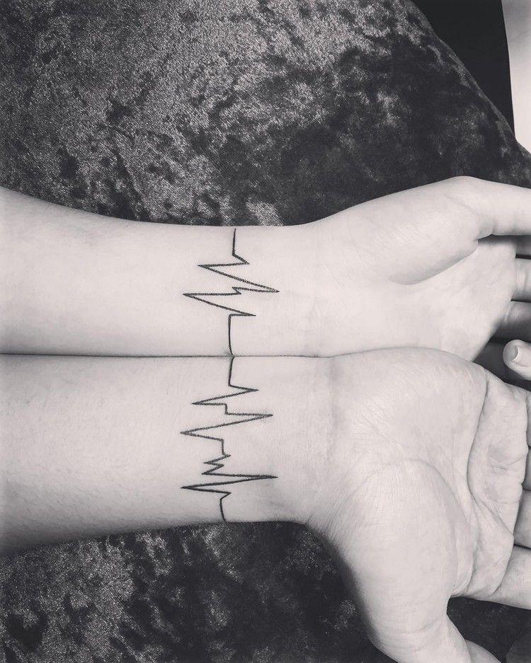 Tattoo Herzschlag Paar Tattoos Freundschaft Ekg Linien Handgelenk