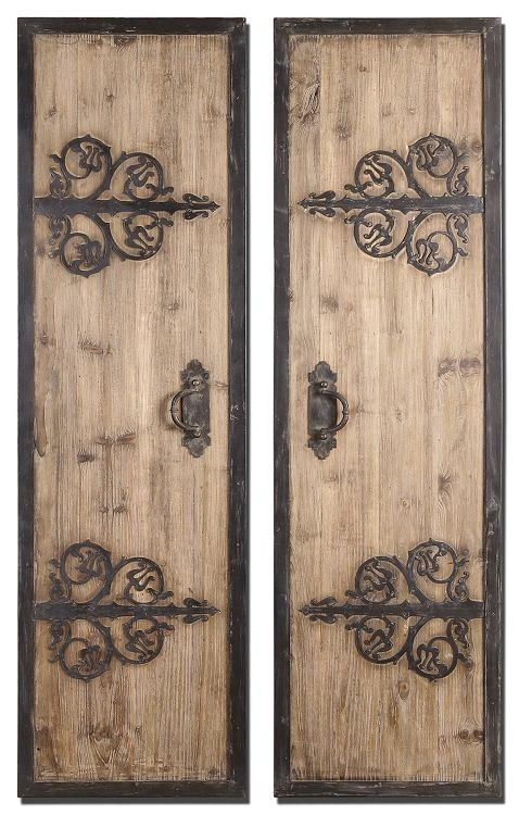 Decorative Metal Wall Panels | Oversized Decorative Rustic Wood Wall Panels  with Wrought Iron Metal .