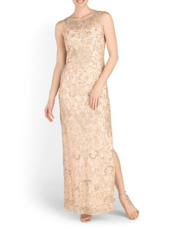 ca2ed7aacb562 Lace Beaded Sheath Long Gown - Formal - T.J.Maxx   Dresses   Formal ...