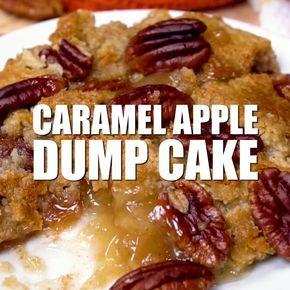 Caramel Apple Dump Cake - A simple fall dump cake recipe made with butter pecan cake mix and apple pie filling! #dumpcake #caramel #apples