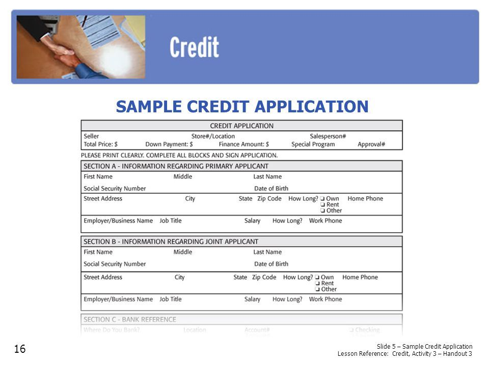 activity 1 the abcs of credit ppt descargar News to Go 3 - sample credit application