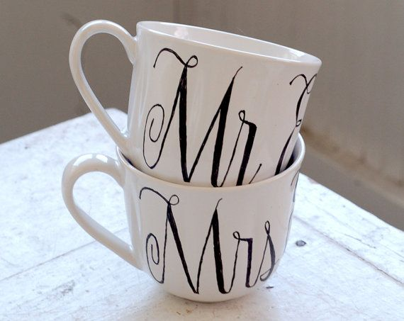 mr + mrs coffee cups by wandersketch. love the lettering.