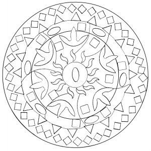 Coloring page adult easy abstract mandala   Mandala ...