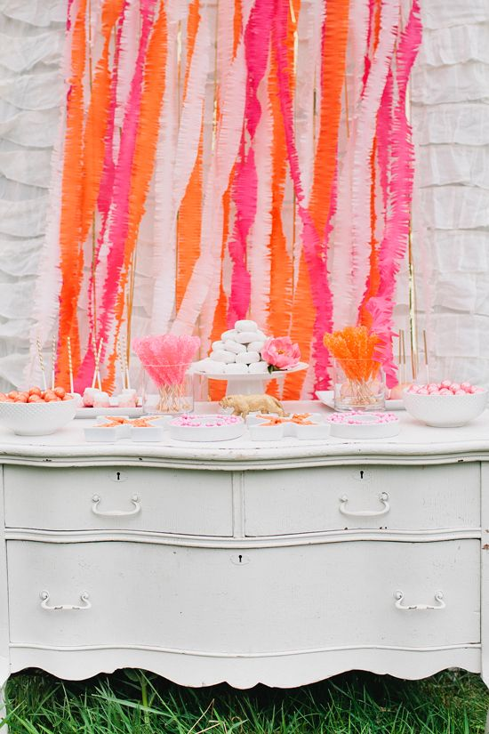 DIY Crepe Fringe Party Backdrop by Somewhere Splendid. Image by Canary Grey Photography.