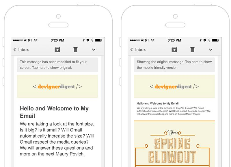 Many emails are designed with a large screen in mind  Text