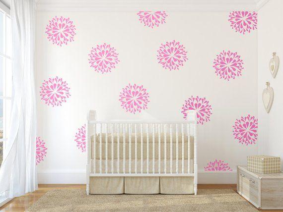 vinyl wall decal art sticker - rain drop flower pattern - pink wall