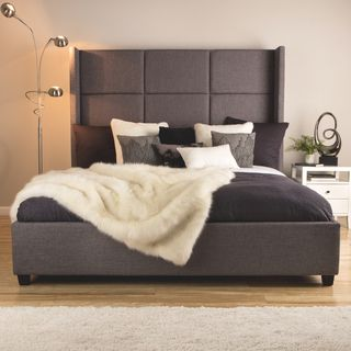 This Grey Polyester Upholstered King Size Bed Will Add Elegance And Sophistication To Any Bedroom The Modern Headboard Features A Cubed Motif