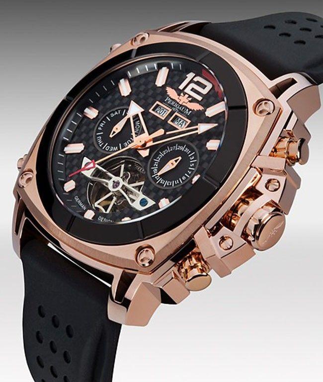 4b454b7f067 Perigaum Watch P-1001-IPR German Design Black Dial Rose Gold Automatic  Herren Chronograph