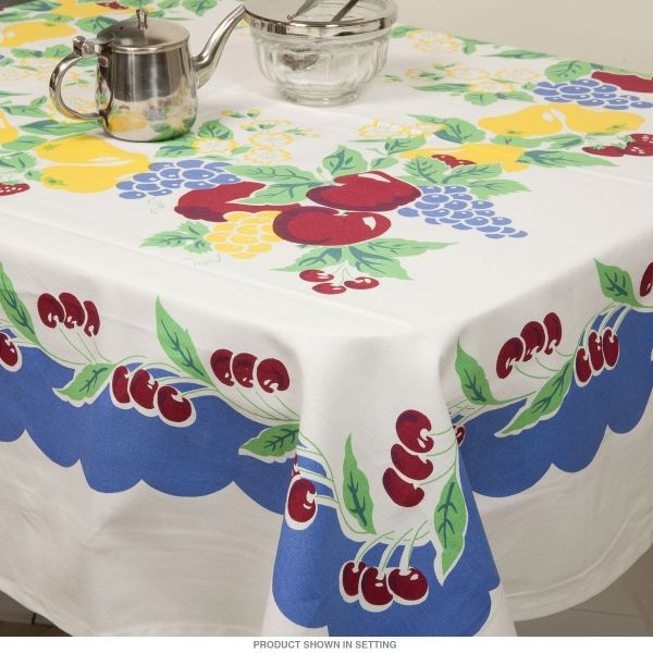 Cherries Vintage Style Cotton Kitchen Tablecloth