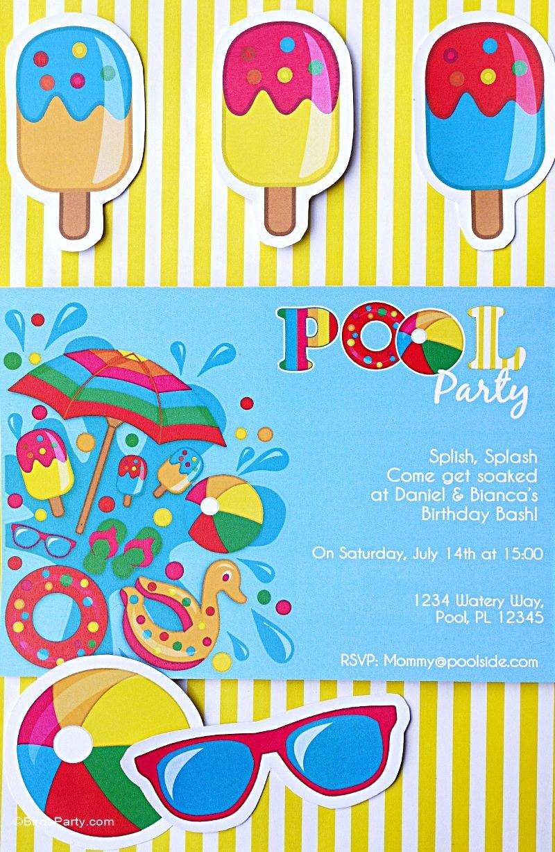 Pool Party Ideas Kids Summer Printables Diy decoration Favors