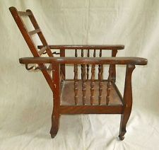 Heywood Wakefield Morris Chair Antique Dark Oak Childs Original Arts And  Craft