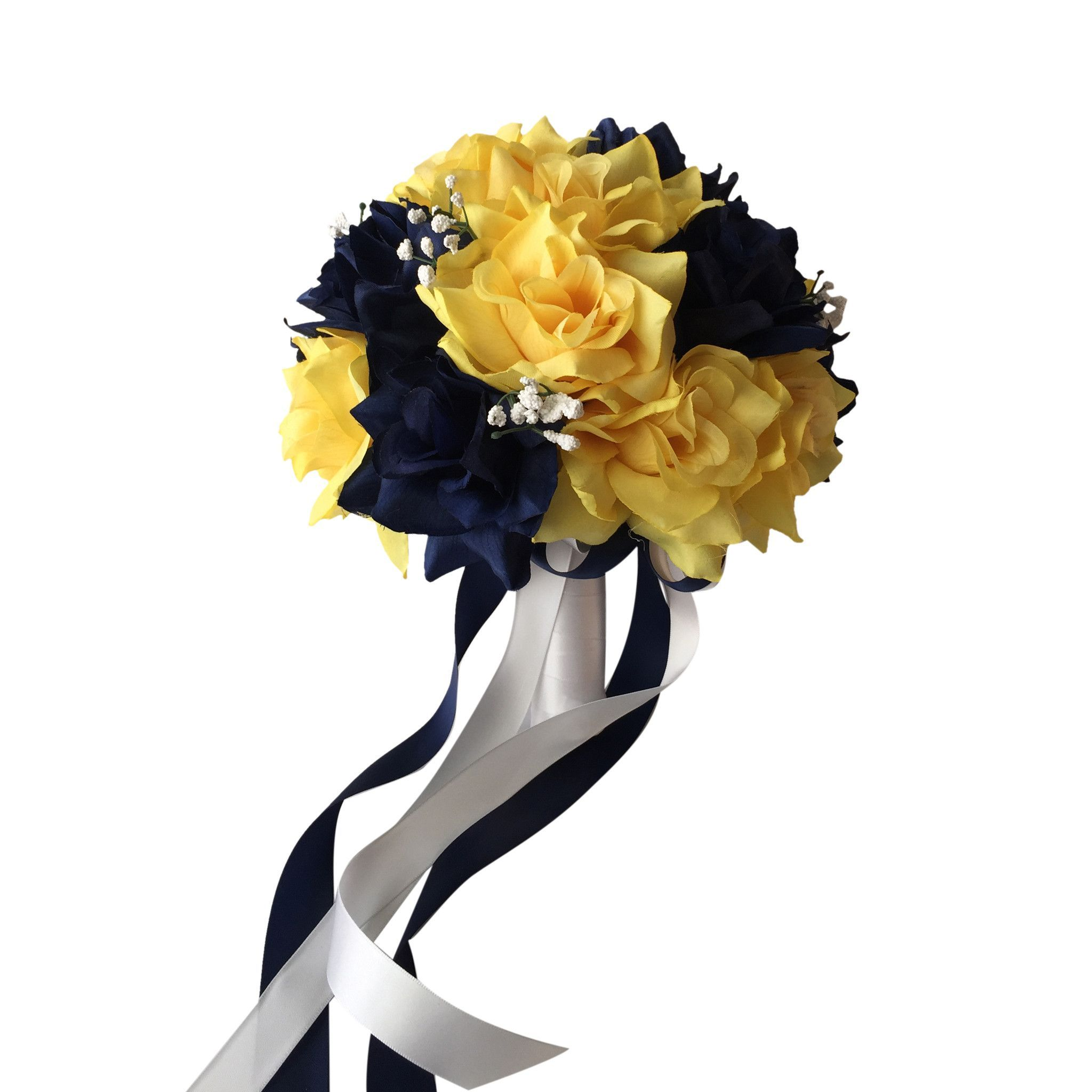"10"" Bouquet: Navy Blue And Yellow Roses With White Ribbon"