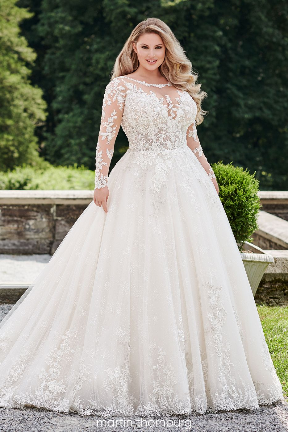 Martin Thornburg 120233W Opal Long Sleeve Plus Size Wedding Dress