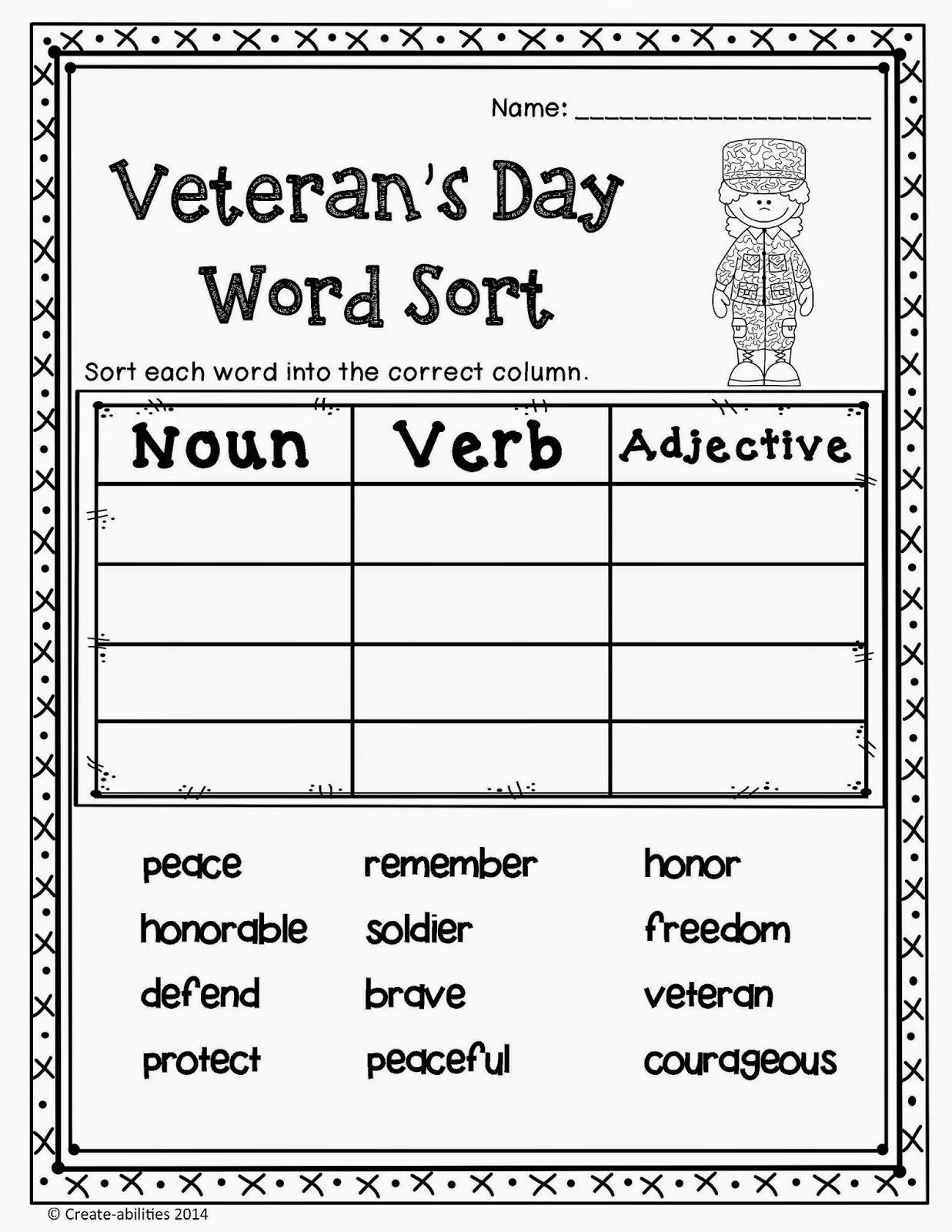 Free Veterans Day Activities For Kids – Free Veterans Day Worksheets