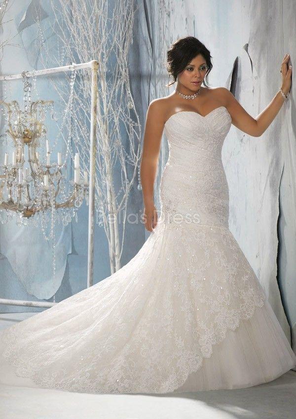 Unique Asymmetric Waist Lace Tulle Sweetheart Fit N Flare Plus Size Wedding Dress