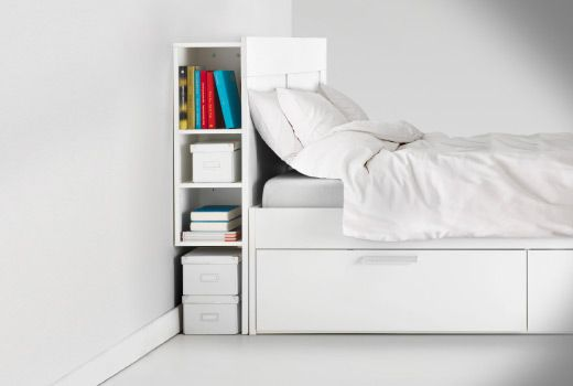 BRIMNES Headboard with storage compartment white Full
